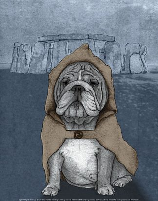 B2963 - Barruf - English Bulldog with Stonehenge