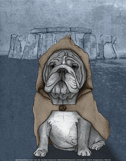 B2963 - Barruf - English Bulldog with Stonehenge