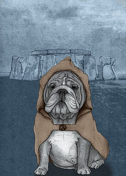 B2963D - Barruf - English Bulldog with Stonehenge