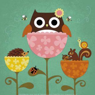 L691 - Lee, Nancy - Owl, Squirrel and Hedgehog in Flowers