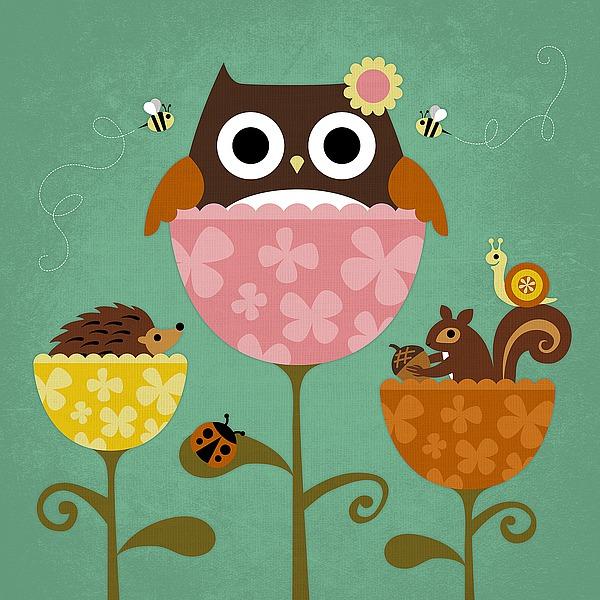 L691D - Lee, Nancy - Owl, Squirrel and Hedgehog in Flowers