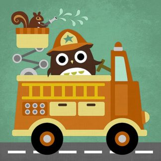 L693D - Lee, Nancy - Owl in Firetruck and Squirrel