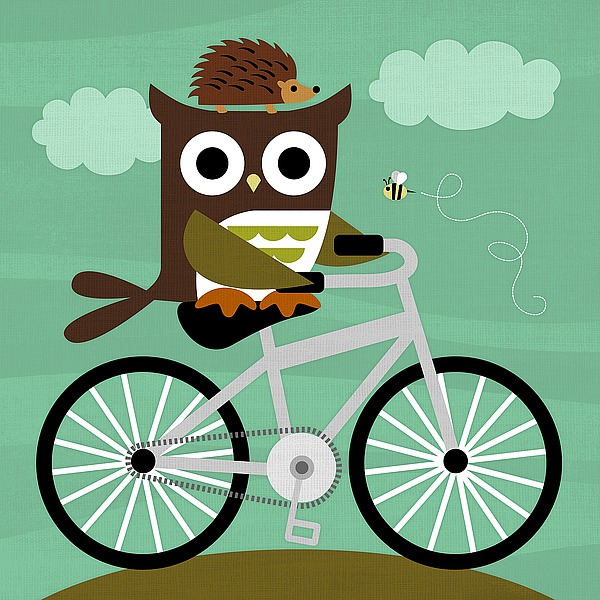 L758D - Lee, Nancy - Owl and Hedgehog on Bicycle