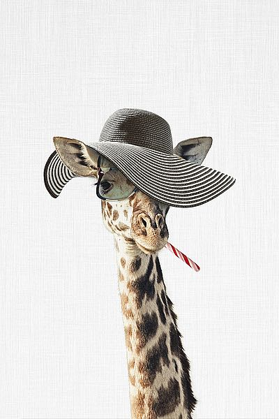 T564D - Tai Prints - Giraffe Dressed in a Hat