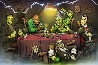 B3487 - Big Chris Art - Monsters Playing Poker