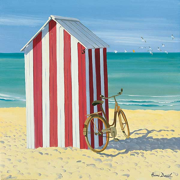 D855 - Deuil, Henri - Red and White Beach Hut
