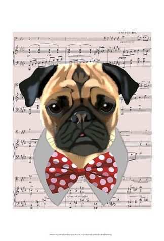 F612 - Fab Funky - Pug with Red and White Spotty Bow Tie