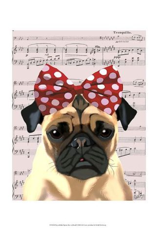 F613 - Fab Funky - Pug with Red Spotty Bow on Head