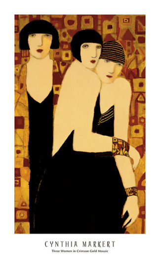 M823 - Markert, Cynthia - Three Women in Crimson Gold Mosaic