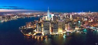 P1092C - Plisson, Philip - New York Downtown by Night (canvas w/mirrored edge)