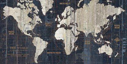 W827 - Wild Apple Portfolio - Old World Map Blue
