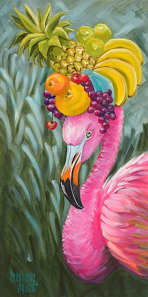 A493D - Aguilar, Stephanie - Flamingo with Fruit Baskets
