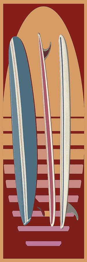 F763D - Fielding, Edward M. - Surfboard Sunset