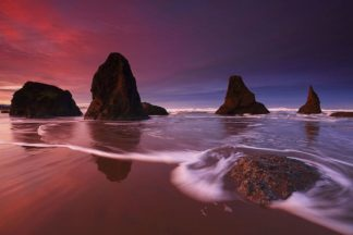 H1567D - Hodges, Randall J. - Sunset and Sea Stacks, Oregon