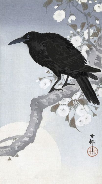 K2726D - Koson, Ohara - Crow at Full Moon, 1900-1930