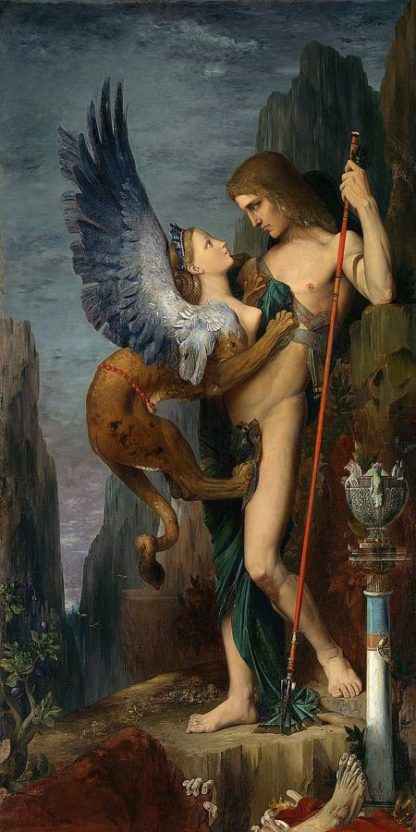 M1690D - Moreau, Gustave - Oedipus and the Sphinx, 1864