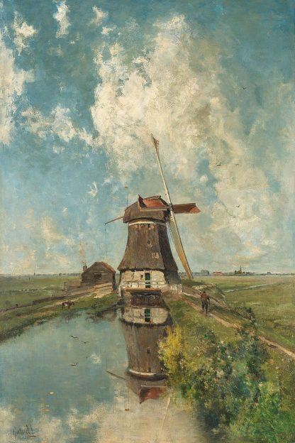 G2108D - Gabri'l, Paul Joseph Constantin - A Windmill on a Polder Waterway, c. 1889