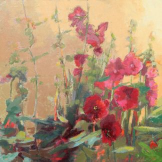 Red Haven Hollyhocks